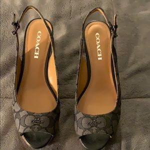 Black and Gray Coach Wedge Sandal